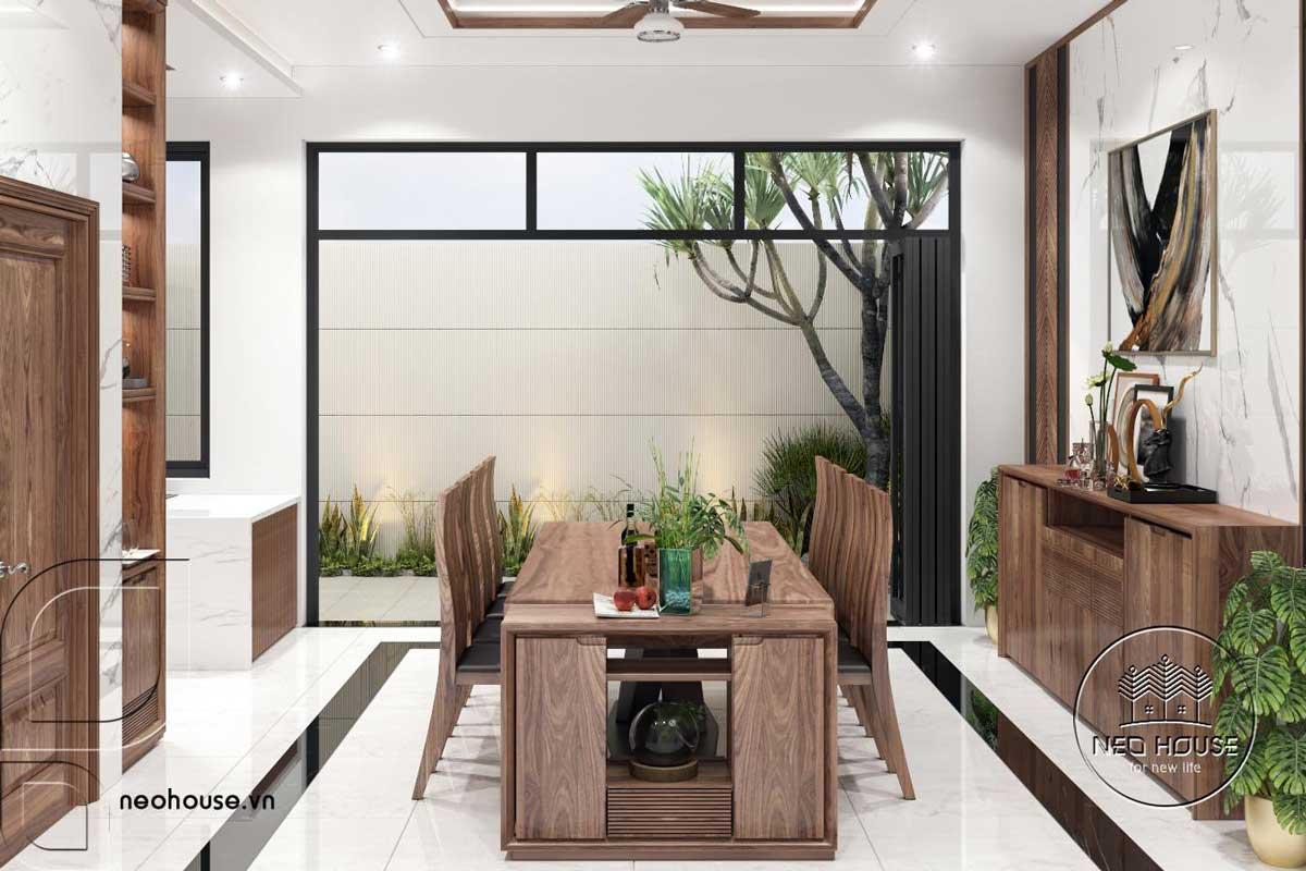 Bản vẽ phối cảnh nội thất phòng ăn nhà phố đẹp 3 tầng