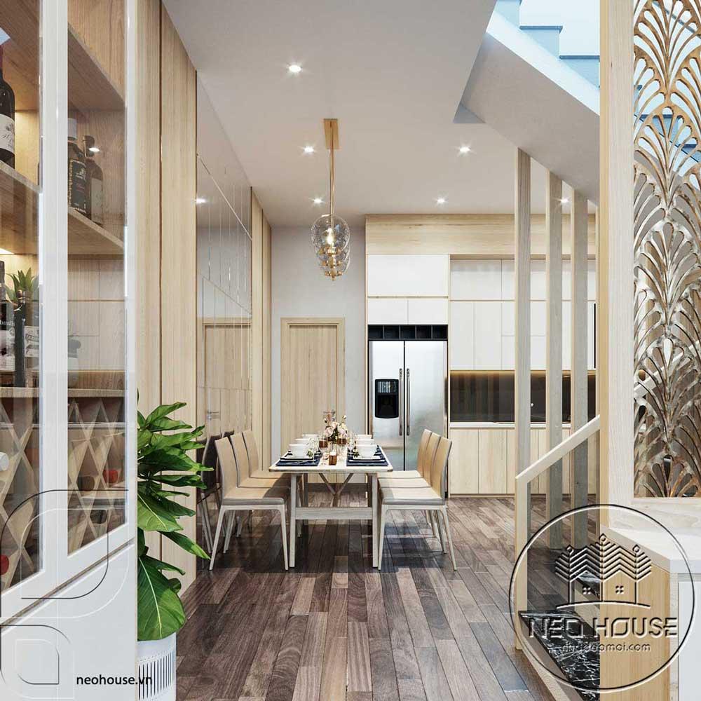 Thiết kế nội thất phòng ăn nhà phố đẹp 5x20m. Ảnh 2