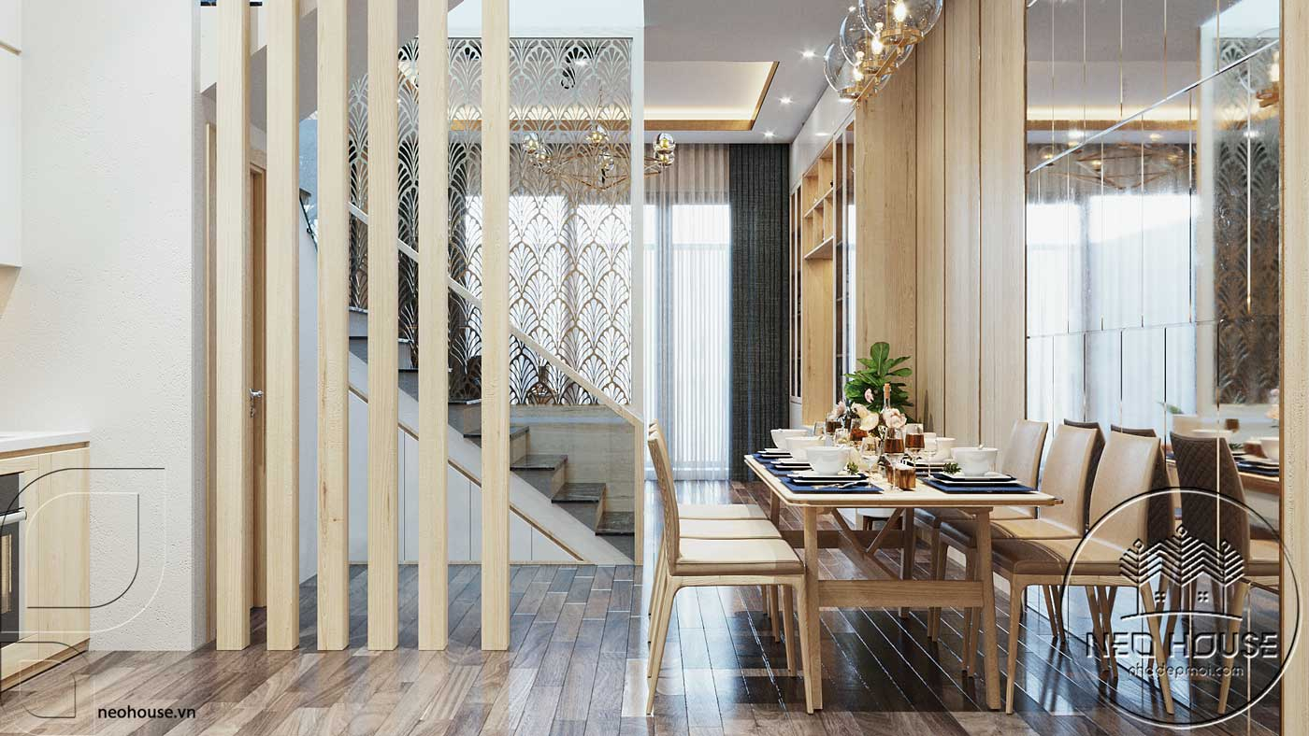 Nội thất phòng bếp và phòng ăn nhà phố đẹp 3 tầng