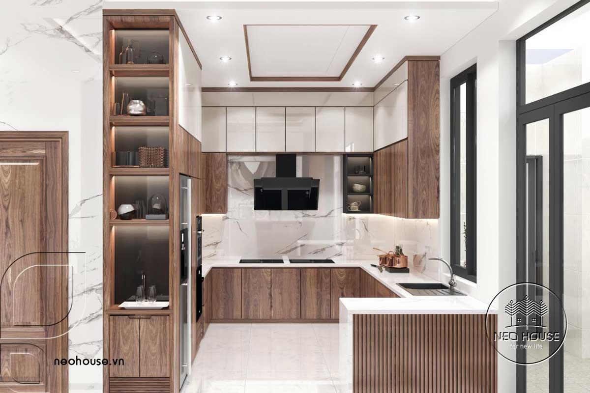 Phối cảnh nội thất phòng bếp nhà phố đẹp 3 tầng