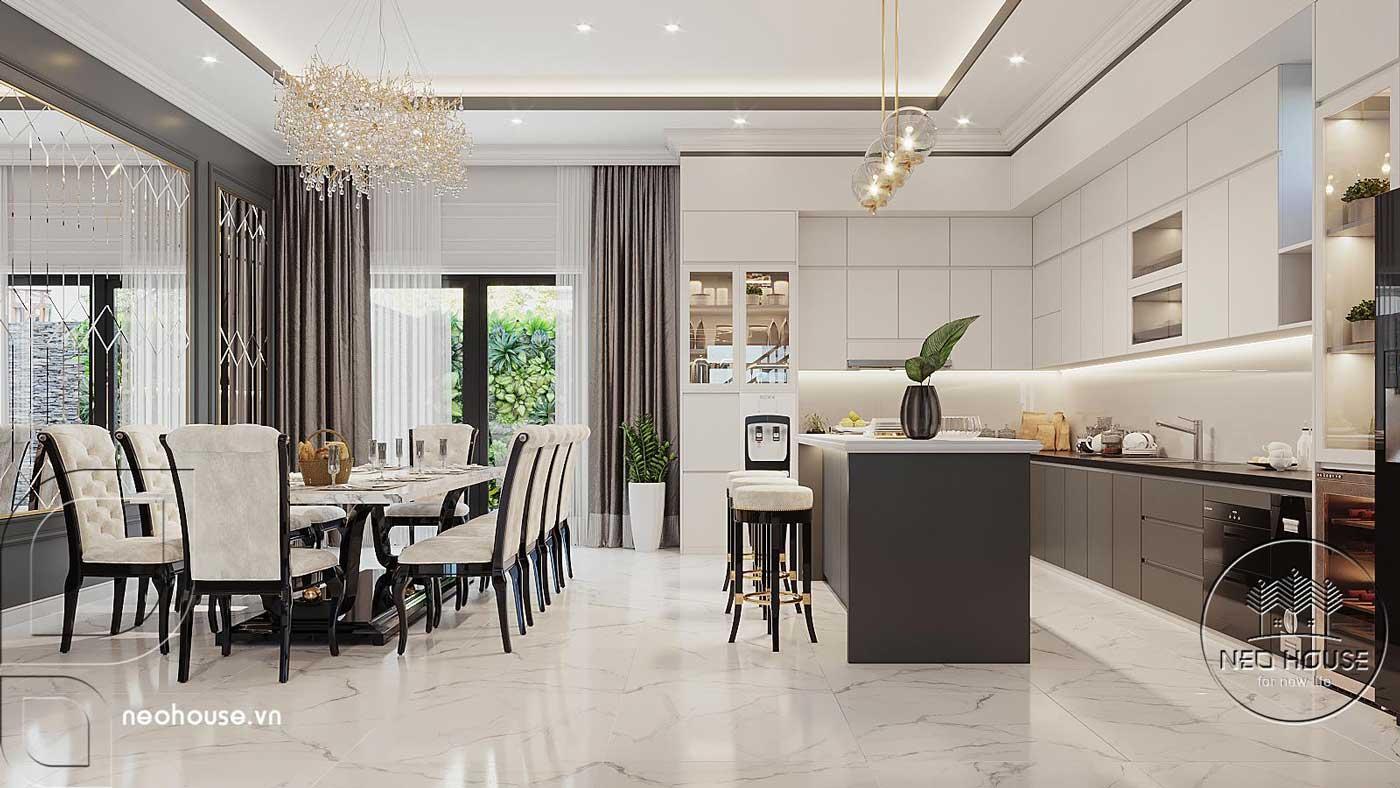 Phối cảnh nội thất phòng ăn và phòng bếp biệt thự 4 tầng hiện đại