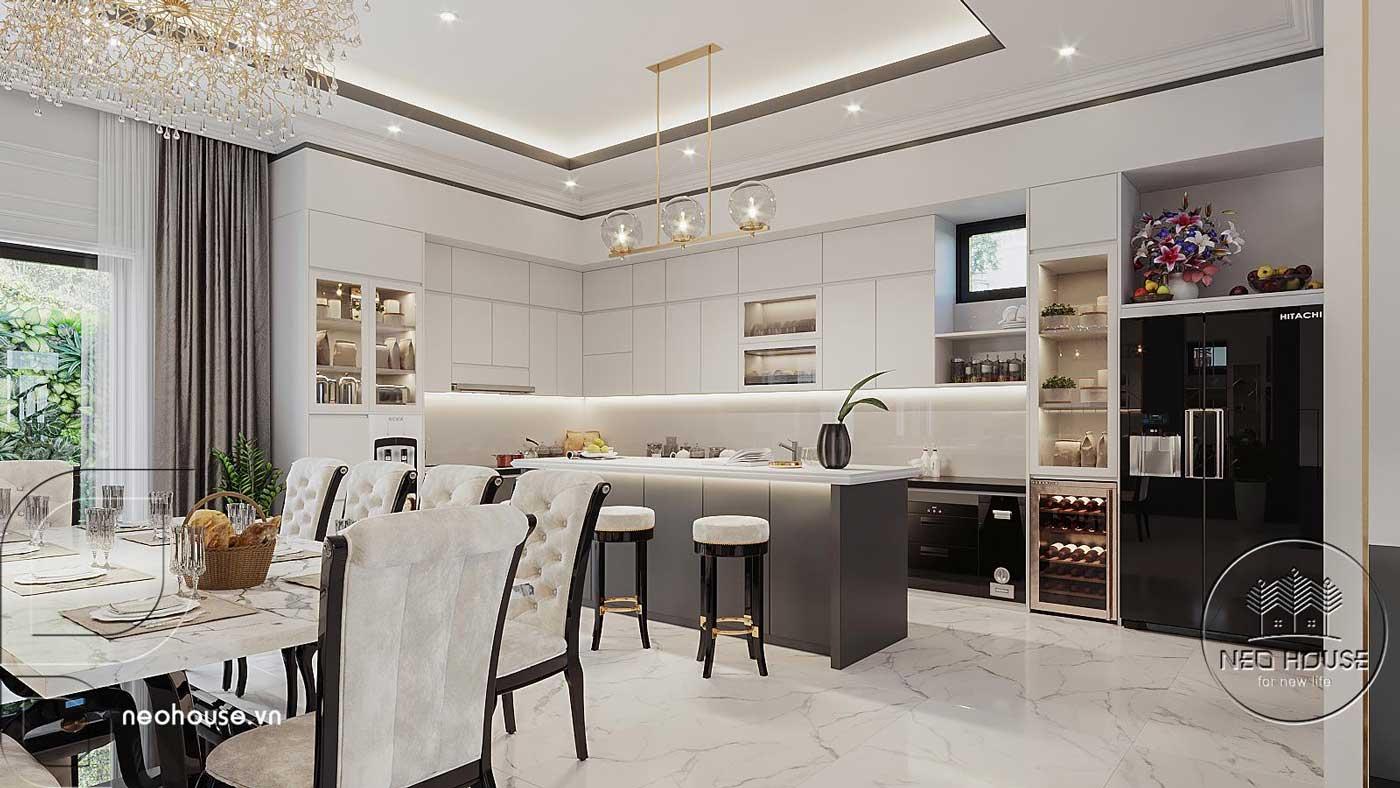 Mẫu thiết kế nội thất phòng ăn và phòng bếp biệt thự 4 tầng hiện đại