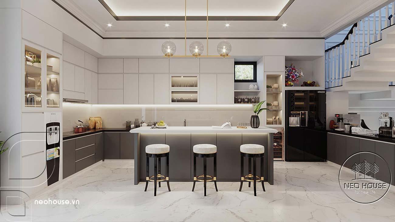 Bản vẽ nội thất phòng ăn và phòng bếp biệt thự 4 tầng hiện đại