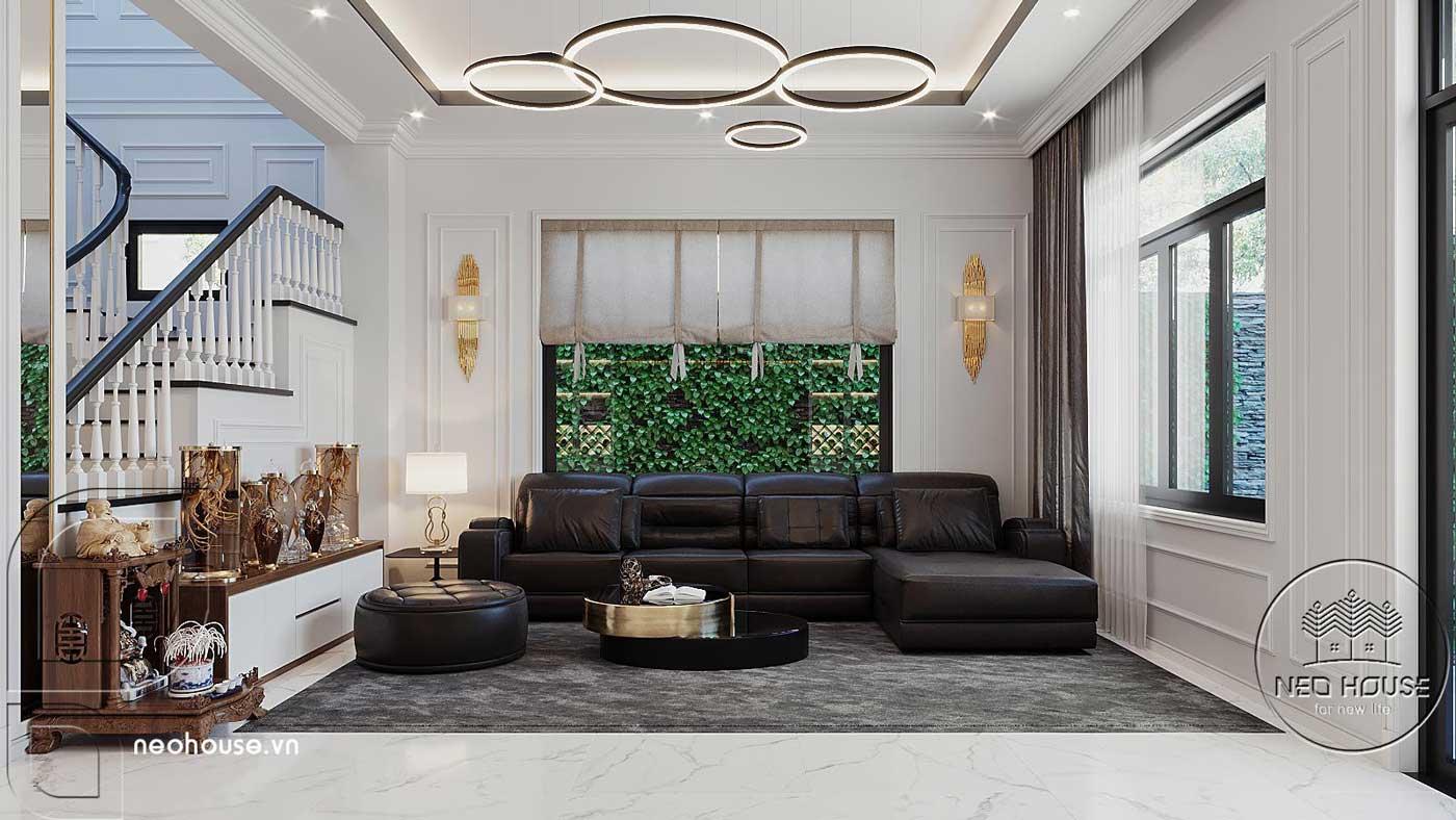 Thiết kế nội thất phòng khách biệt thự 4 tầng hiện đại