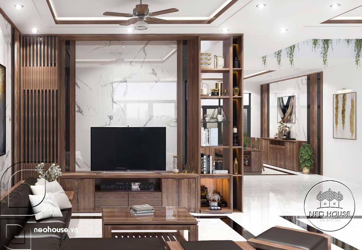 Mẫu thiết kế nội thất phòng khách nhà phố 3 tầng hiện đại