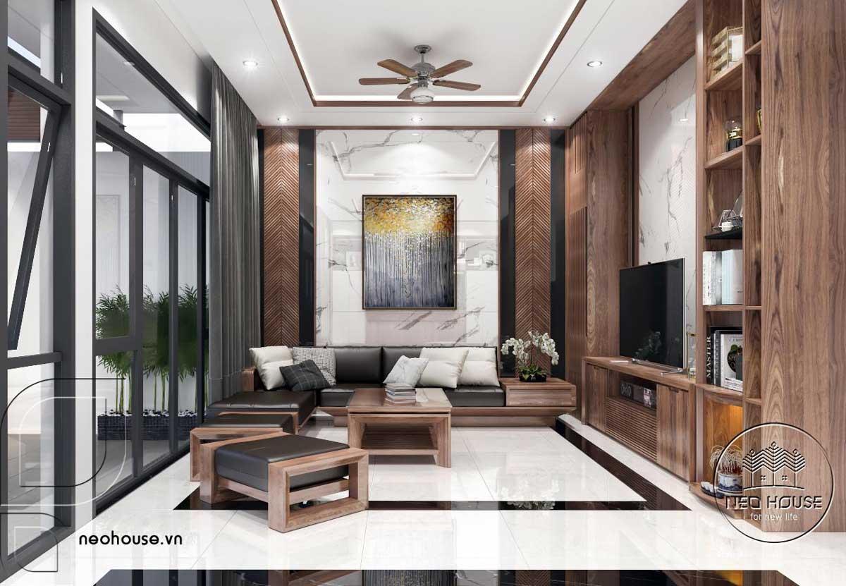 Mẫu nội thất phòng khách nhà phố đẹp 3 tầng