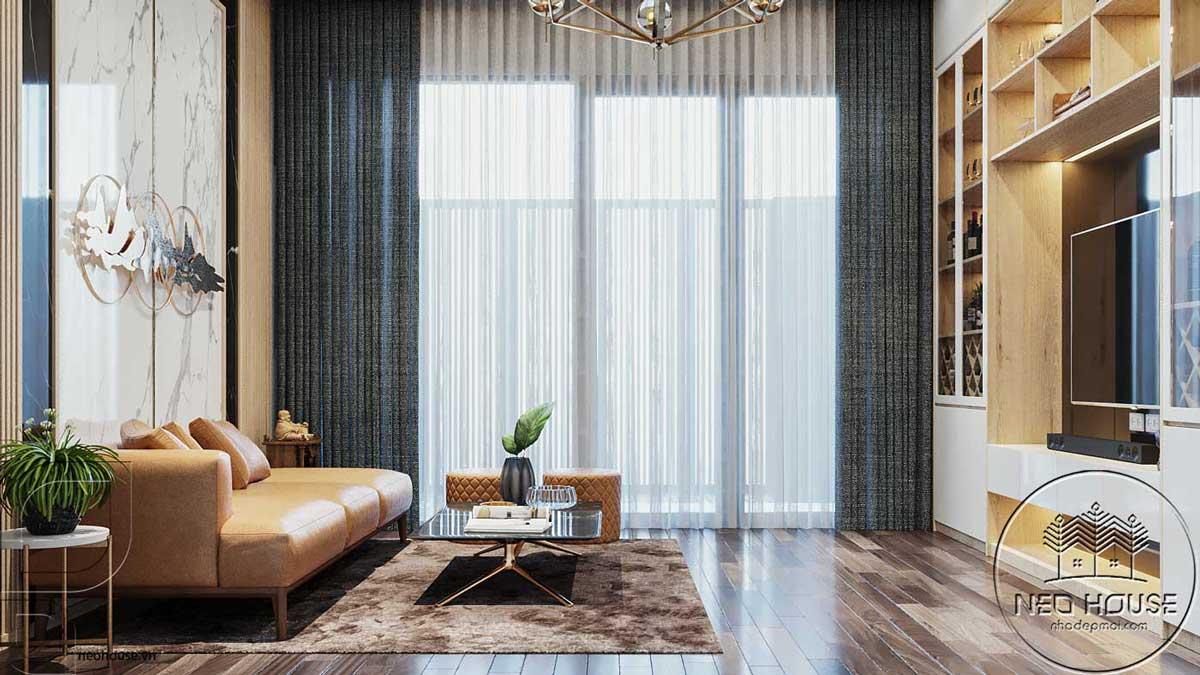 Thiết kế nội thất phòng khách nhà phố đẹp 5x20m. Ảnh 2