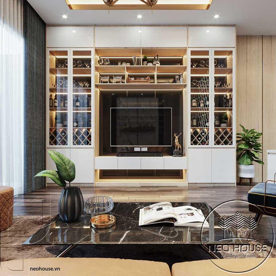 Thiết kế nội thất phòng khách nhà phố đẹp 5x20m. Ảnh 3