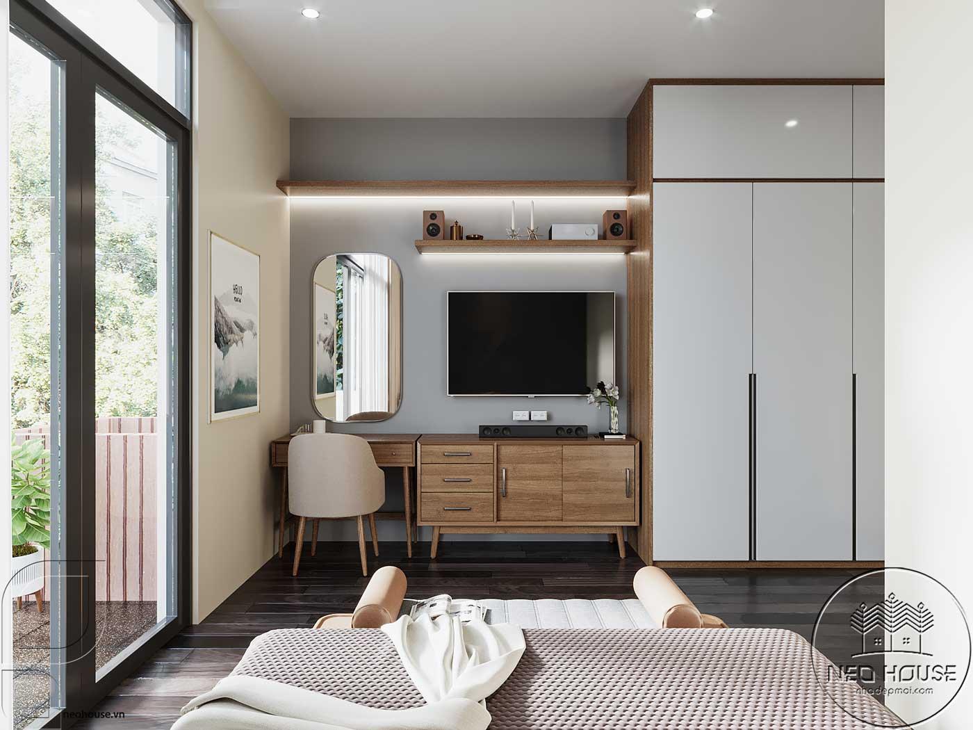 Thiết kế nội thất phòng ngủ Master nhà phố đẹp 5x20m. Ảnh 2