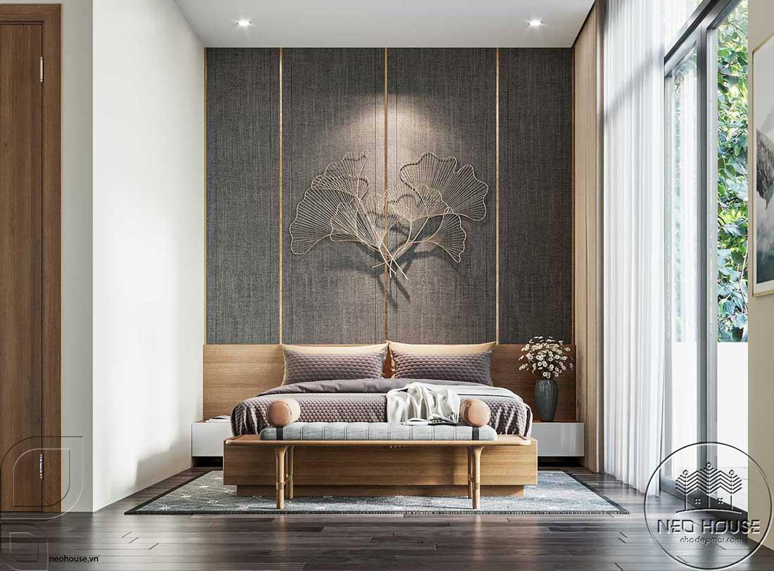 Thiết kế nội thất phòng ngủ Master nhà phố đẹp 5x20m. Ảnh 1
