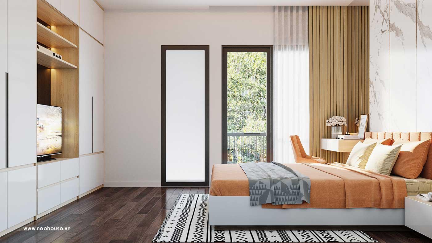 Thiết kế nội thất phòng ngủ 3 nhà phố đẹp 5x20m. Ảnh 2