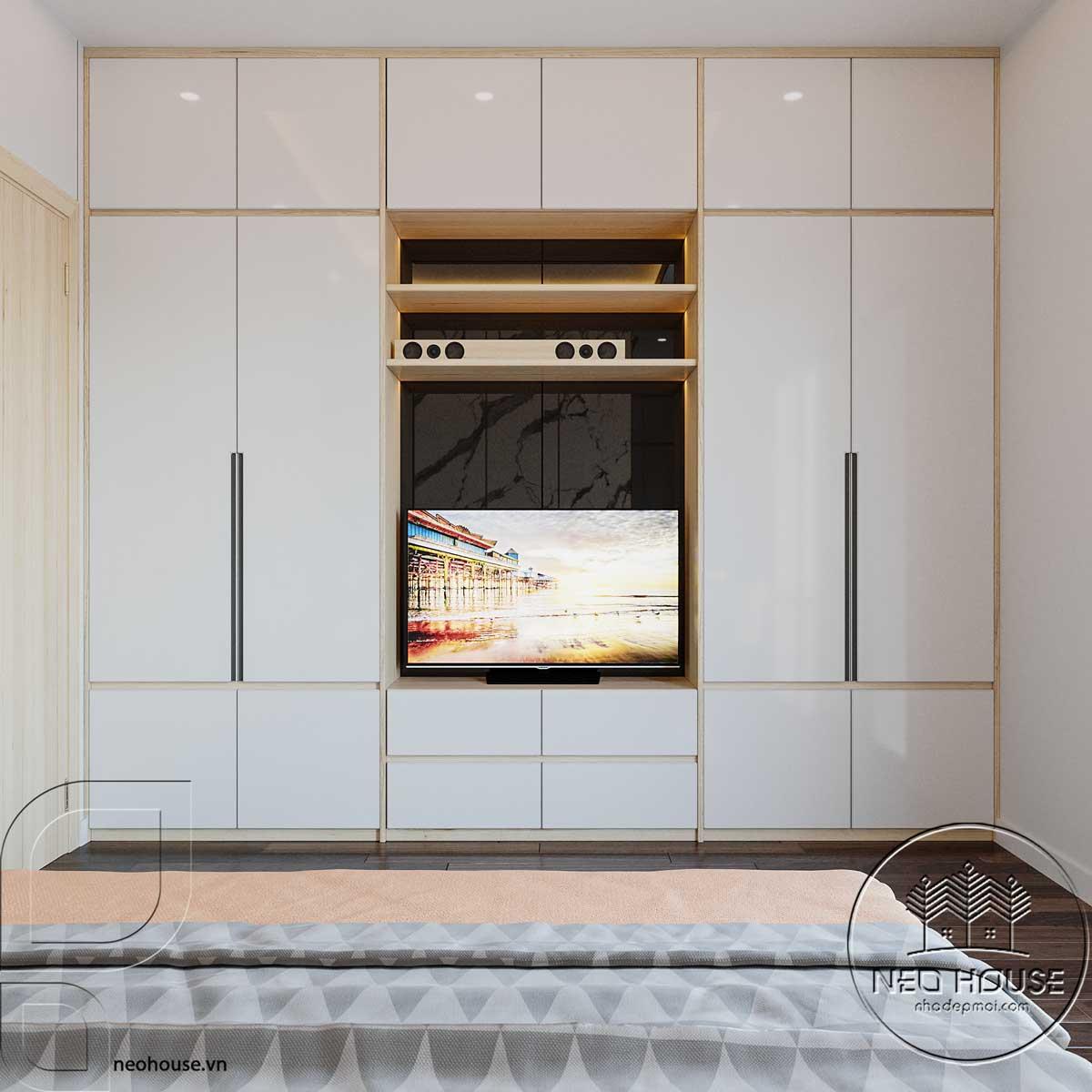 Phối cảnh nội thất phòng ngủ bé gái lớn nhà phố 3 tầng mặt tiền 5m