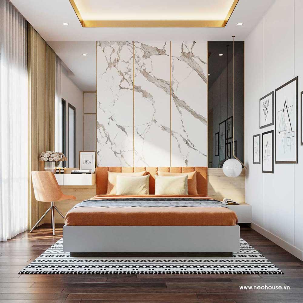 Thiết kế nội thất phòng ngủ 3 nhà phố đẹp 5x20m. Ảnh 1