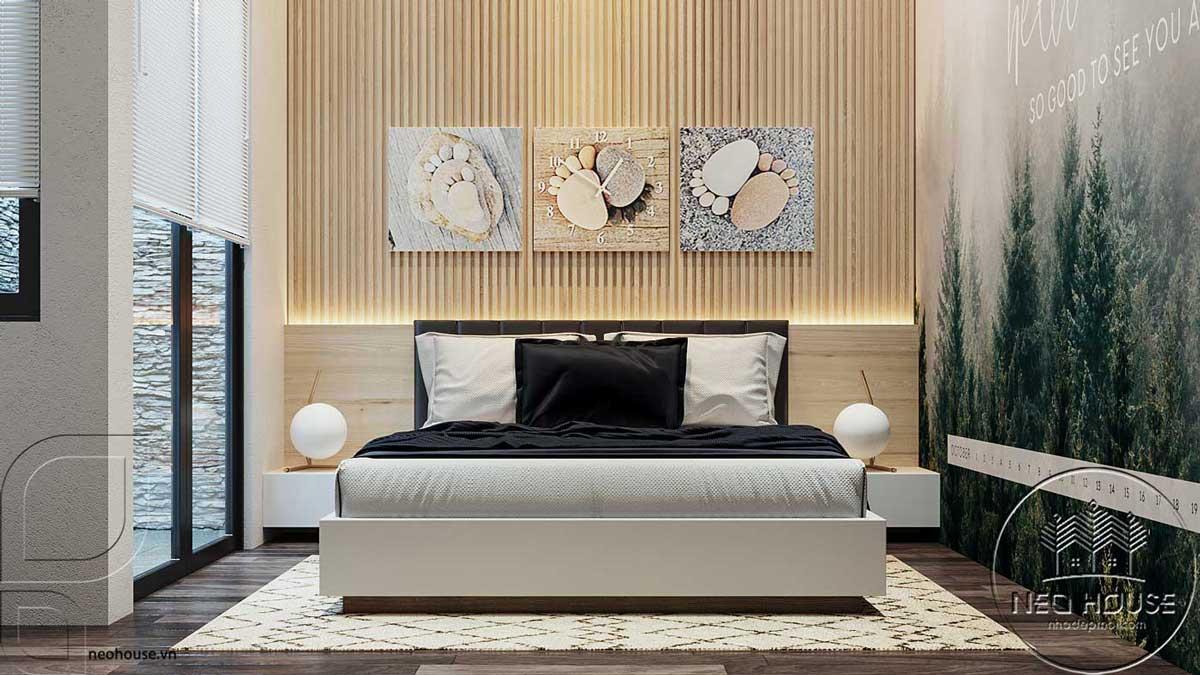 Thiết kế nội thất phòng ngủ 2 nhà phố đẹp 5x20m. Ảnh 1