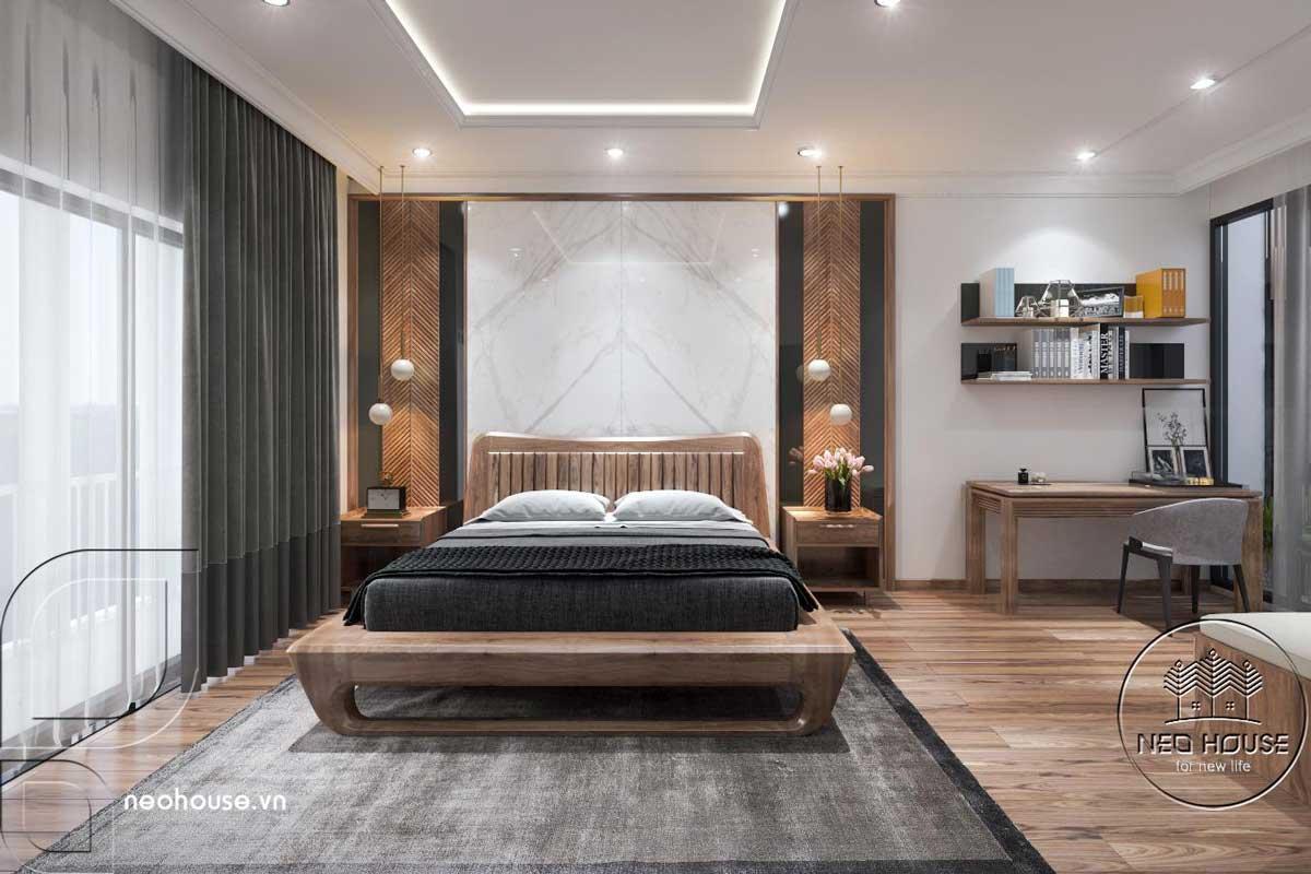 Phối cảnh nội thất phòng ngủ Master nhà phố đẹp 3 tầng