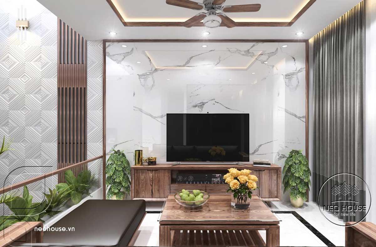 Thiết kế nội thất phòng sinh hoạt chung nhà phố 3 tầng hiện đại