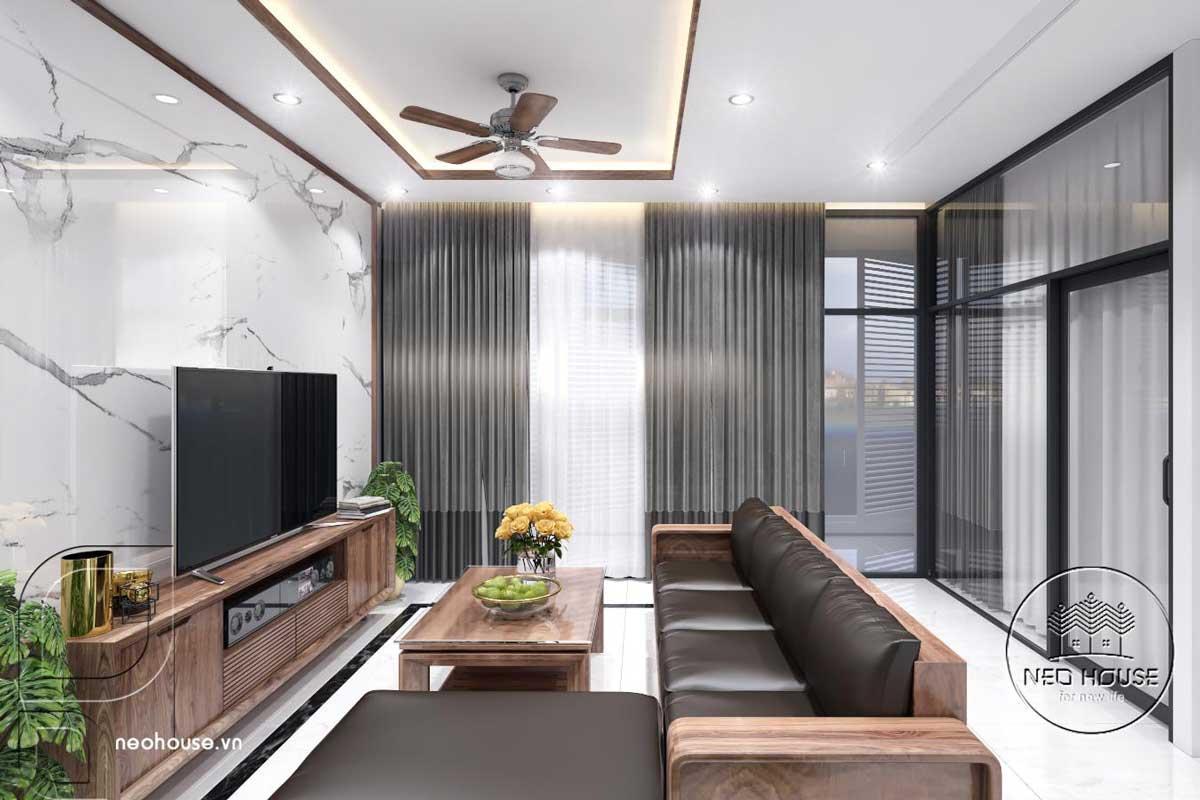 Phối cảnh nội thất phòng sinh hoạt chung nhà phố đẹp 3 tầng