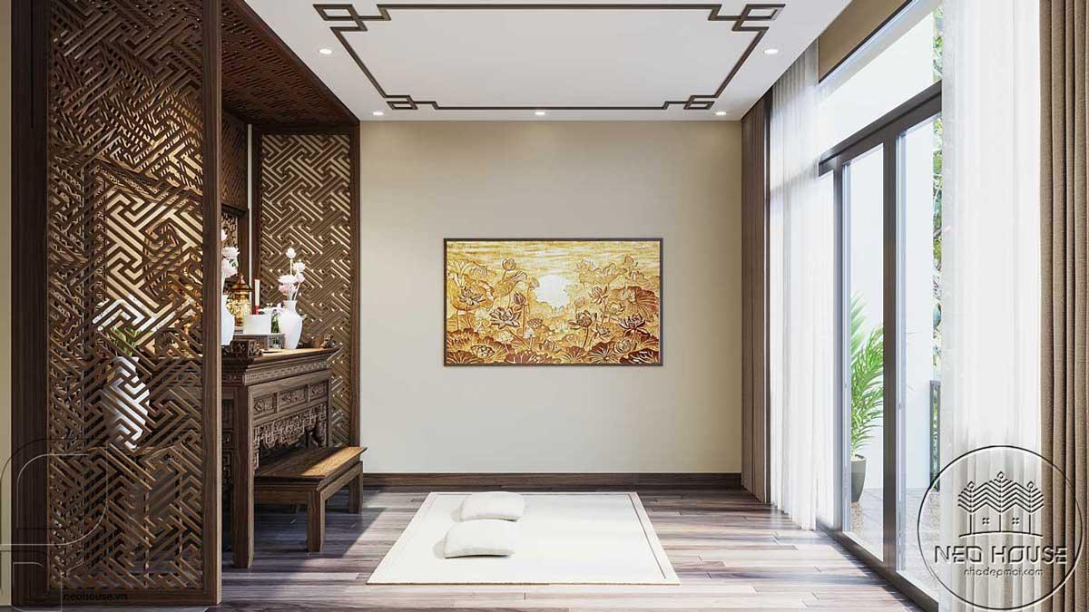 Thiết kế nội thất phòng thờ nhà phố đẹp 5x20m. Ảnh 3