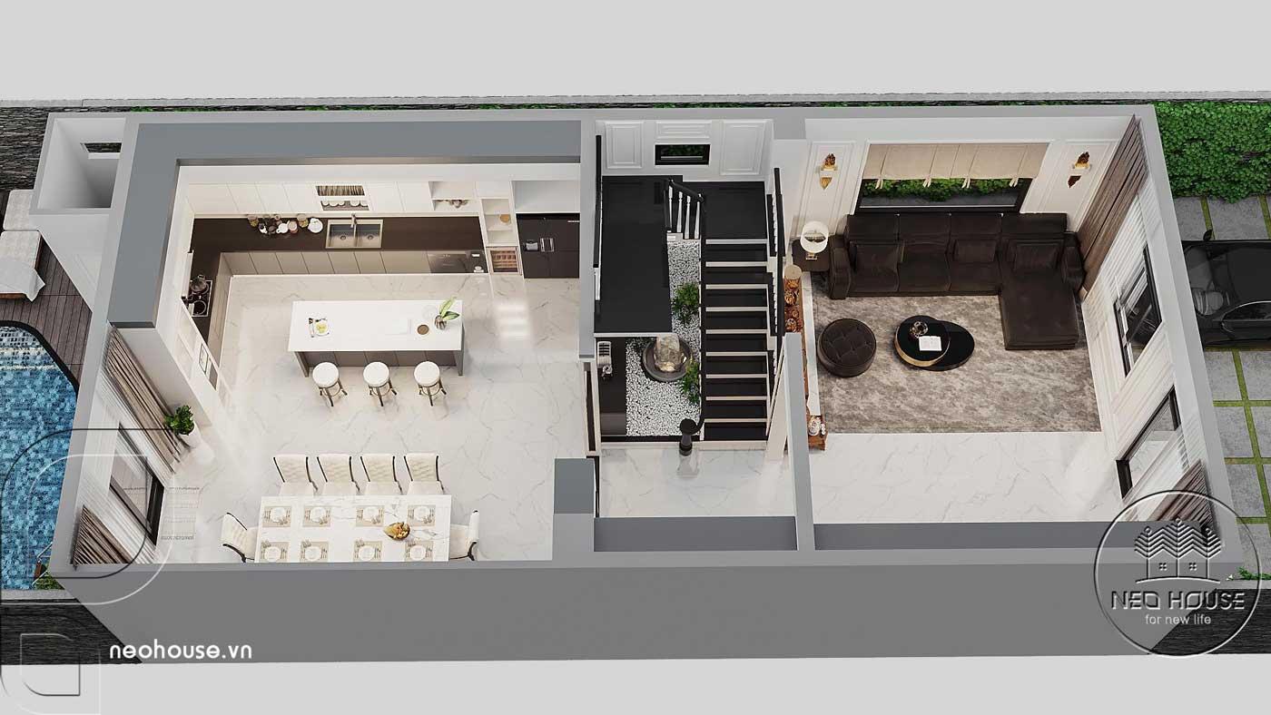 Thiết kế nội thất tổng quan tầng trệt biệt thự 4 tầng hiện đại