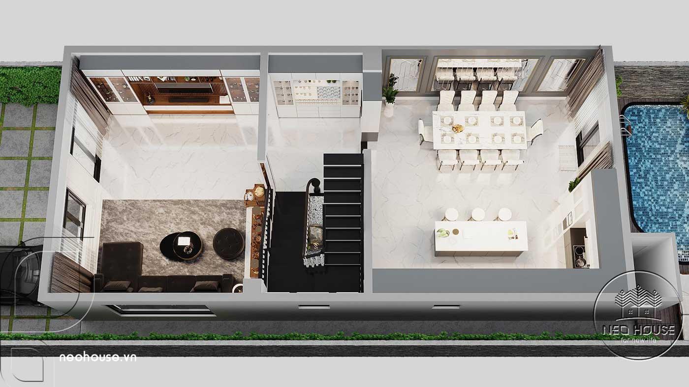 Bản vẽ phối cảnh tổng quan tầng trệt biệt thự 4 tầng hiện đại