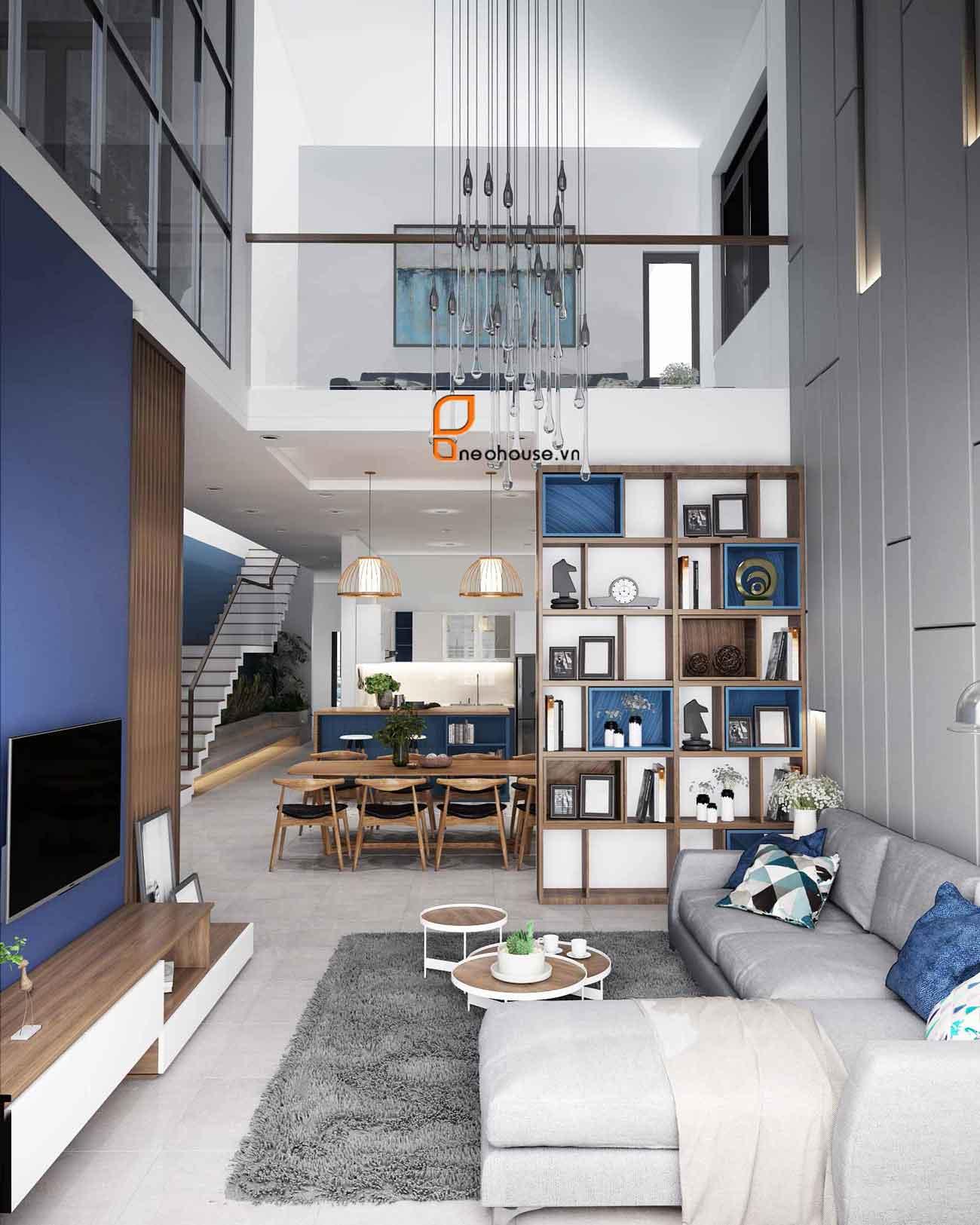 Thiết kế nội thất phòng khách nhà phố 8x14m. Ảnh 2