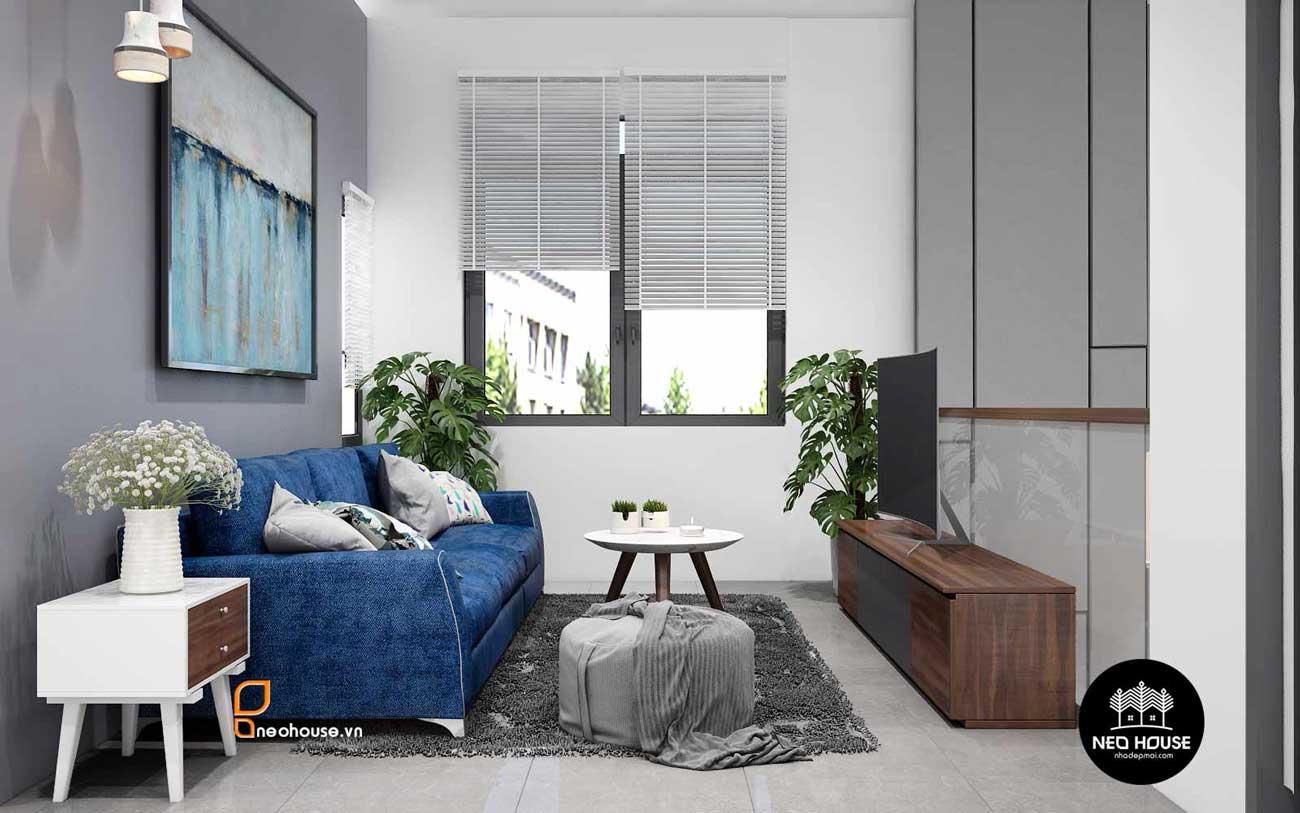 Thiết kế nội thất phòng sinh hoạt chung nhà phố 8x14m. Ảnh 1