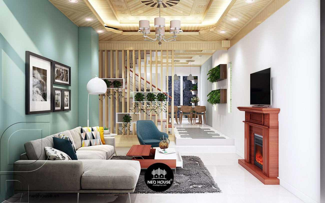 Thiết kế nội thất phòng khách nhà phố 3 tầng 1 tum hiện đại. Ảnh 2