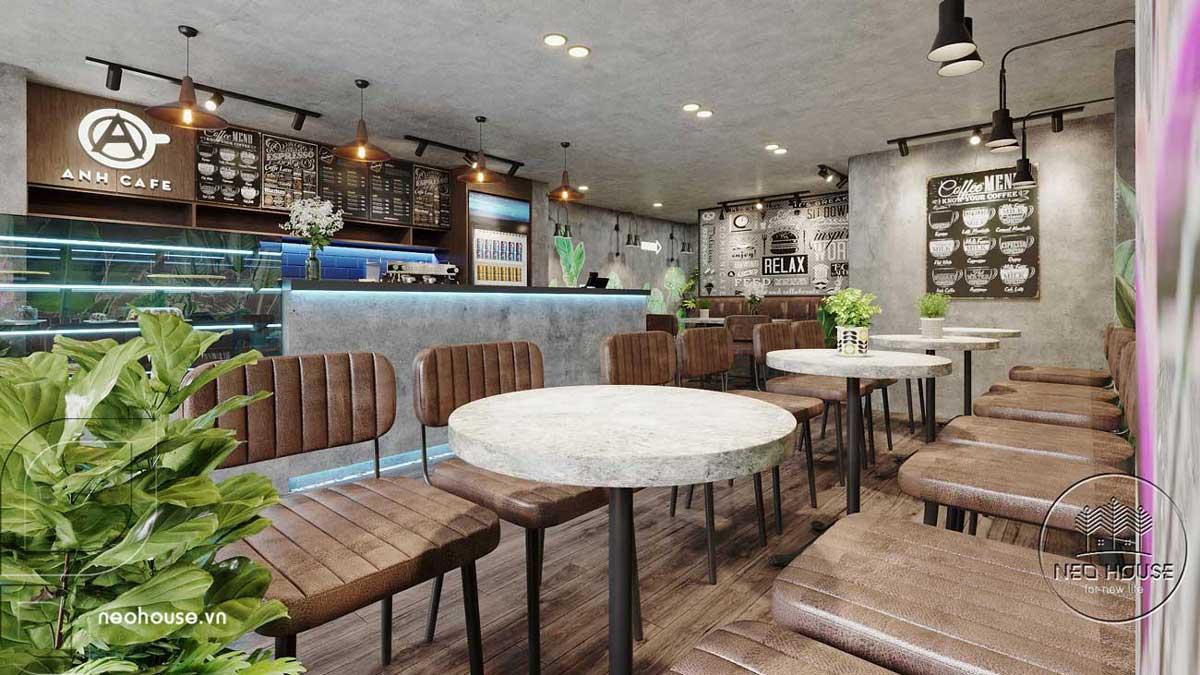 Thiết kế thi công cải tạo nội thất quán cafe. Ảnh 1