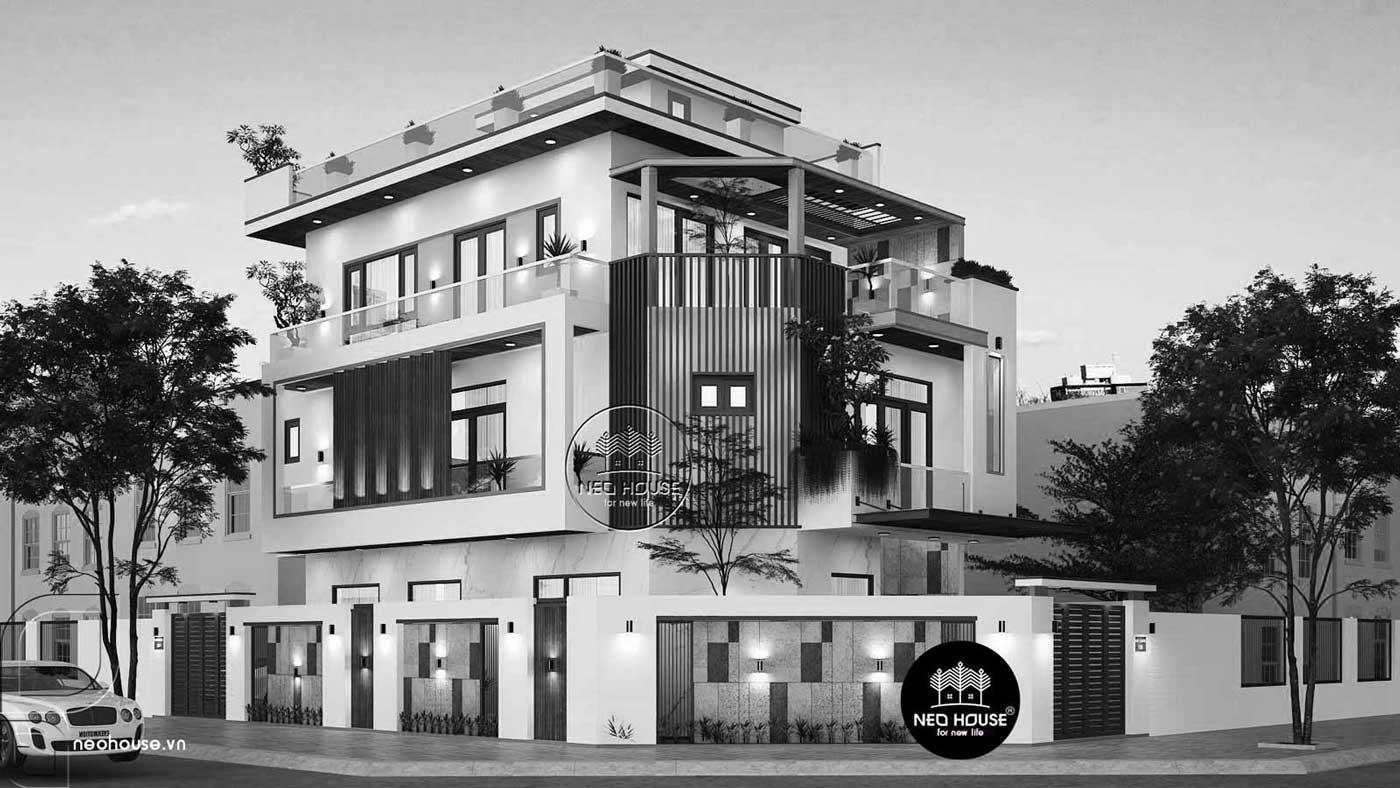 Mẫu nhà biệt thự 3 tầng 2 mặt tiền hiện đại