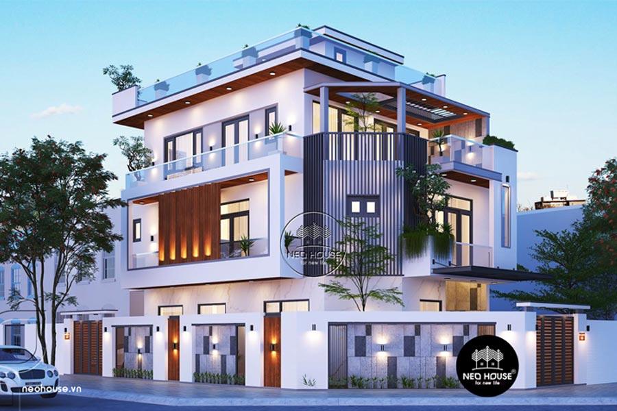 Thiết kế nhà biệt thự 3 tầng đẹp 2 mặt tiền. Ảnh bìa