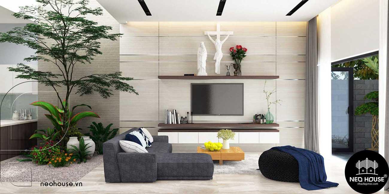 Mẫu thiết kế nội thất biệt thự hiện đại 1 tầng. Ảnh 1