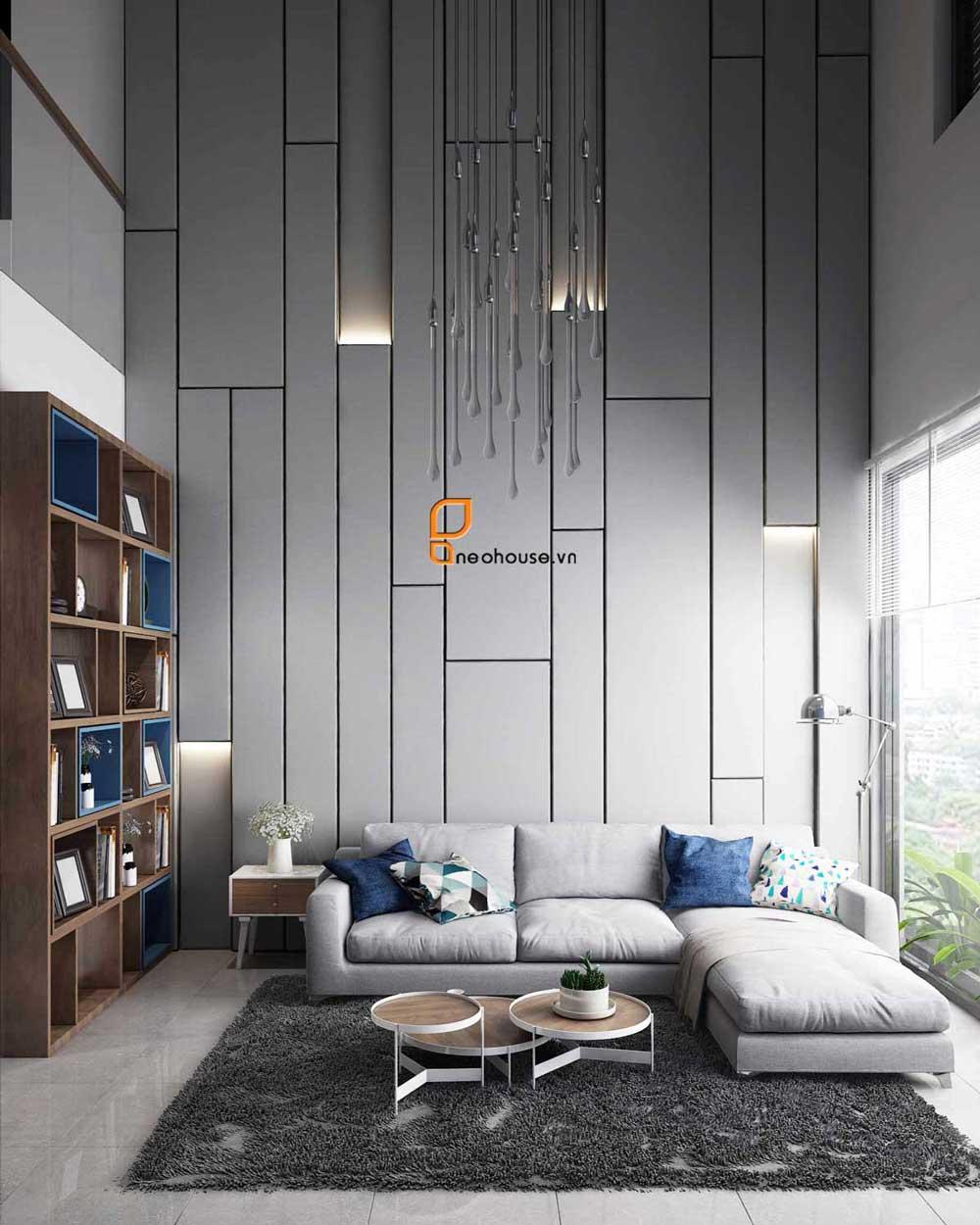 Thiết kế nội thất phòng khách nhà phố 8x14m. Ảnh 1
