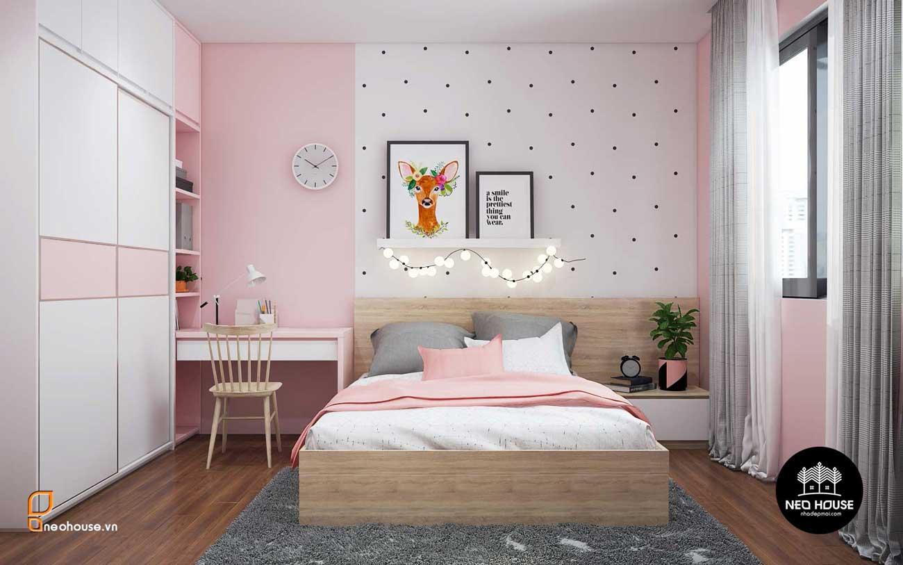 Thiết kế nội thất phòng ngủ bé gái nhà phố 8x14m. Ảnh 1