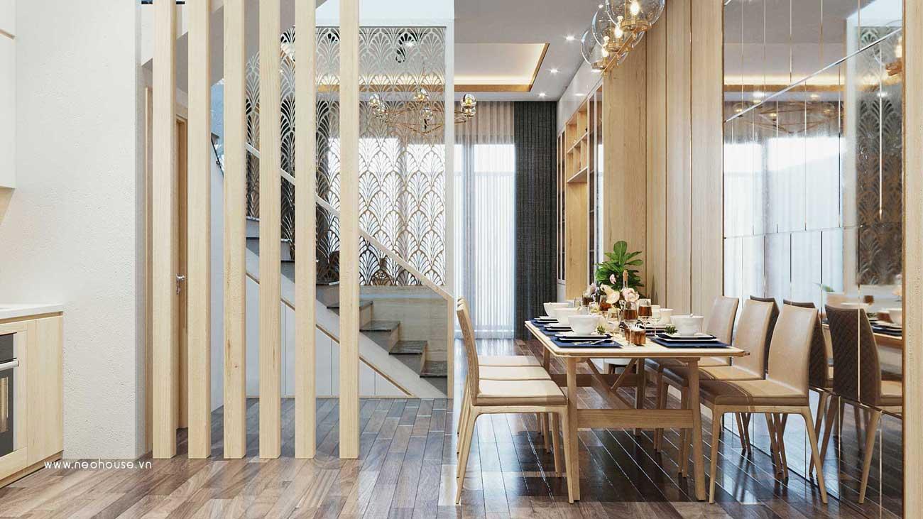 Thiết kế nội thất phòng ăn nhà phố đẹp 5x20m. Ảnh 1