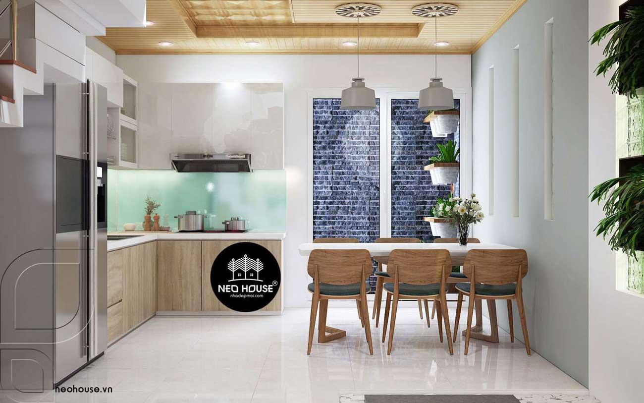 Thiết kế nội thất phòng bếp nhà phố 3 tầng 1 tum hiện đại. Ảnh 1
