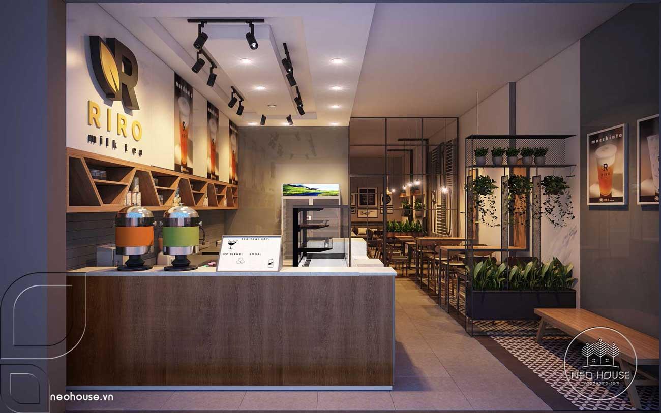 Thiết kế nội thất quán trà sữa RiRo. Ảnh 1