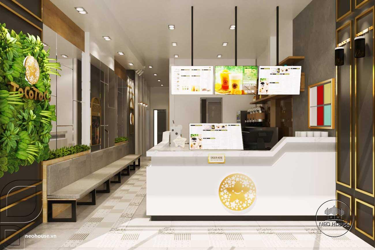 Mẫu thiết kế nội thất quán trà sữa Tocotoco 57m2. Ảnh 1