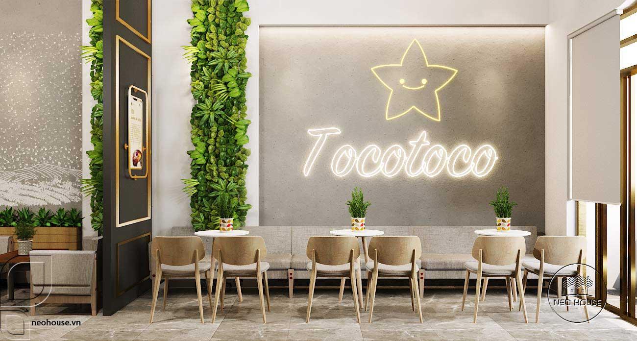 Mẫu thiết kế nội thất quán trà sữa Tocotoco 57m2. Ảnh 5