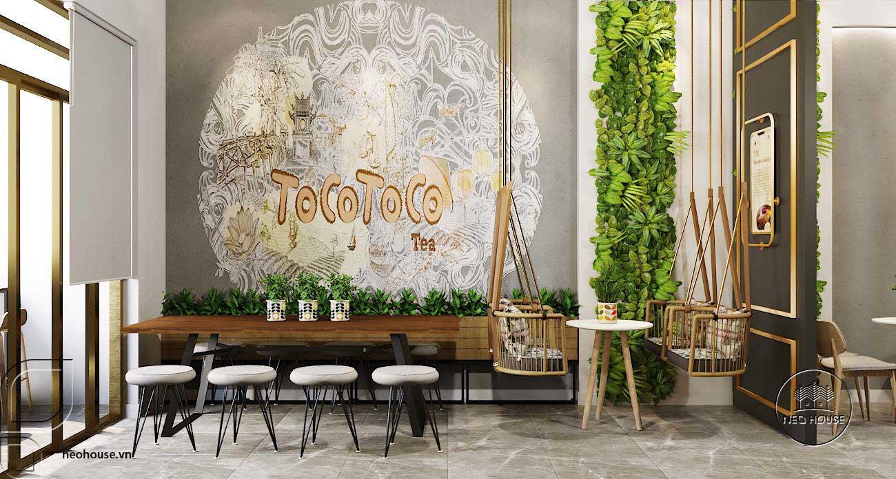 Mẫu thiết kế nội thất quán trà sữa Tocotoco 57m2. Ảnh 6