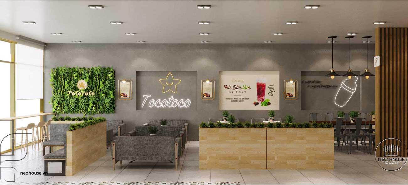 Thiết kế nội thất quán trà sữa Tocotoco. Ảnh 3