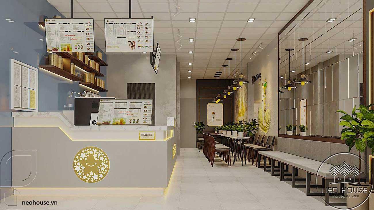 Thiết kế nội thất quán trà sữa Tocotoco 5x18m. Ảnh 1