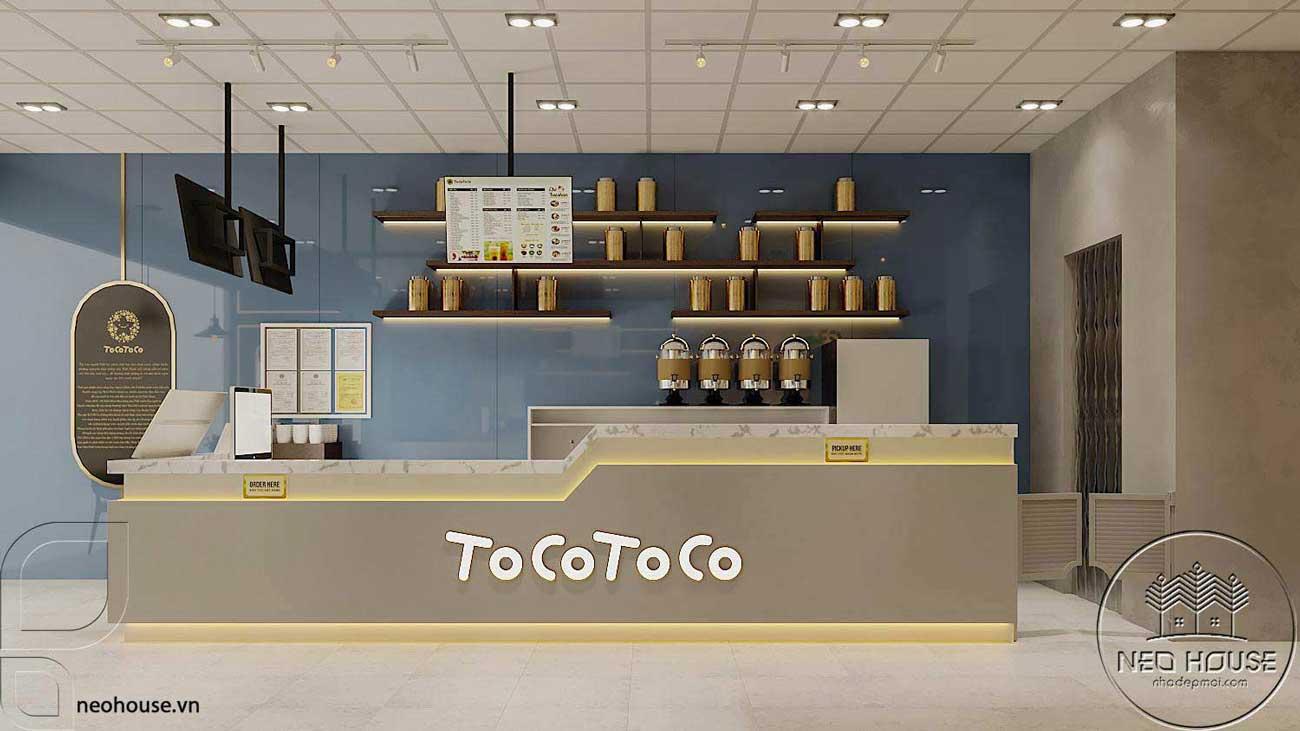 Thiết kế nội thất quán trà sữa Tocotoco 5x18m. Ảnh 2