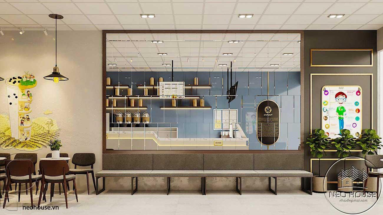 Thiết kế nội thất quán trà sữa Tocotoco 5x18m. Ảnh 3