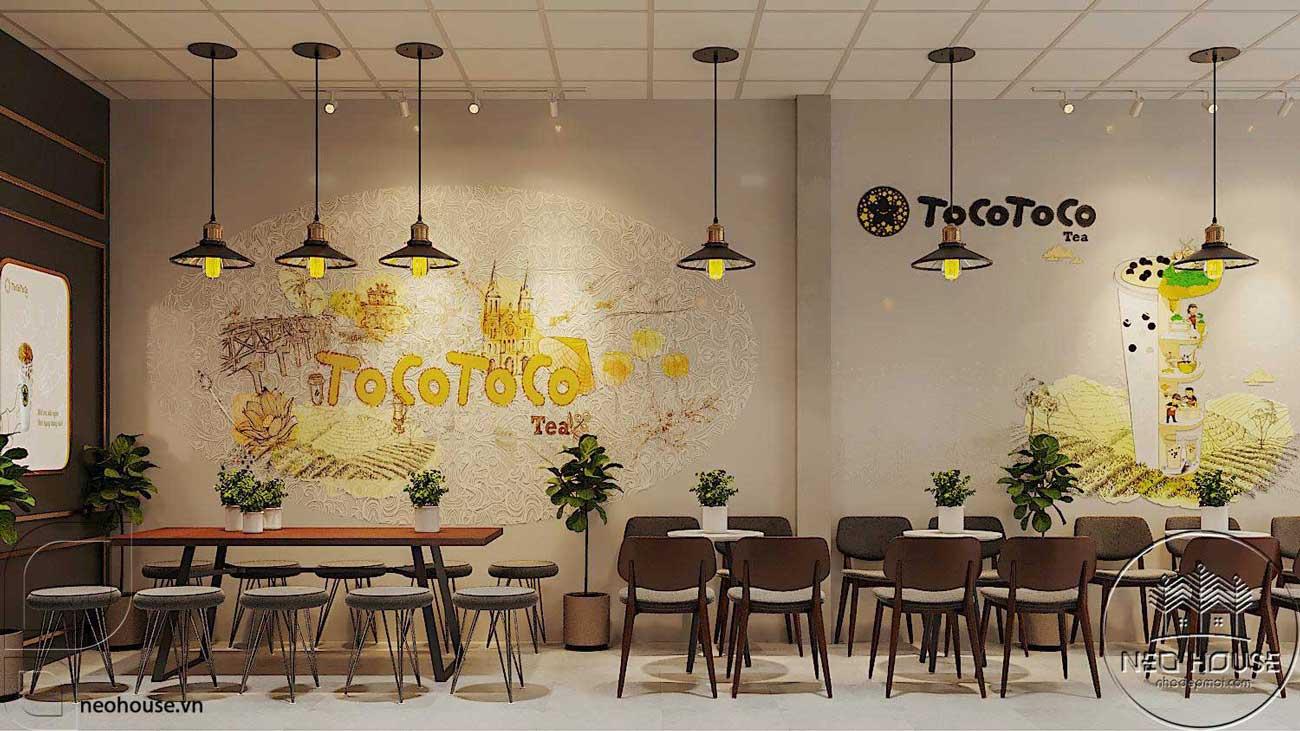 Thiết kế nội thất quán trà sữa Tocotoco 5x18m. Ảnh 4