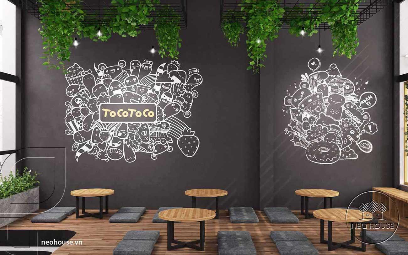 Mẫu nội thất quán trà sữa Tocotoco 120m2. Ảnh 6