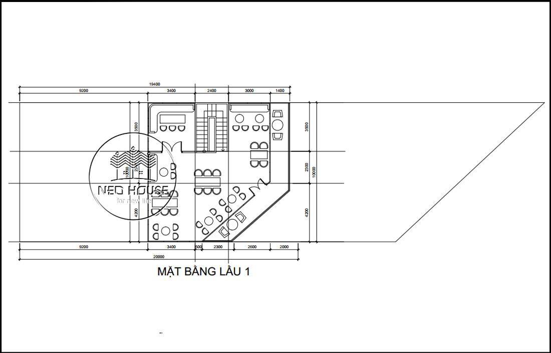 Mặt bằng lầu 1 thiết kế nội thất quán cafe sân vườn hiện đại