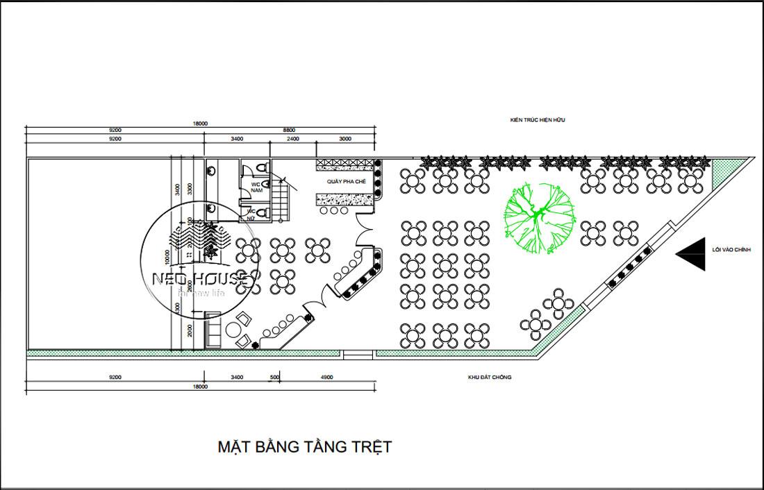 Mặt bằng tầng trệt thiết kế nội thất quán cafe sân vườn hiện đại