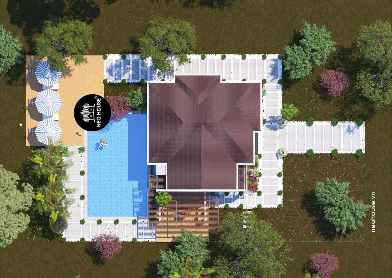 Phối cảnh thiết kế nhà cấp 4 có hồ bơi. Ảnh 3