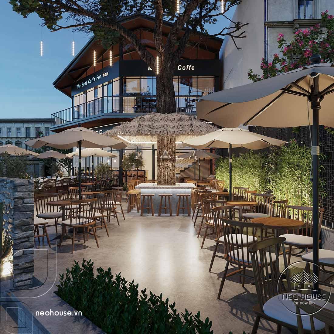 Thiết kế nội thất quán cafe sân vườn hiện đại. Ảnh 4