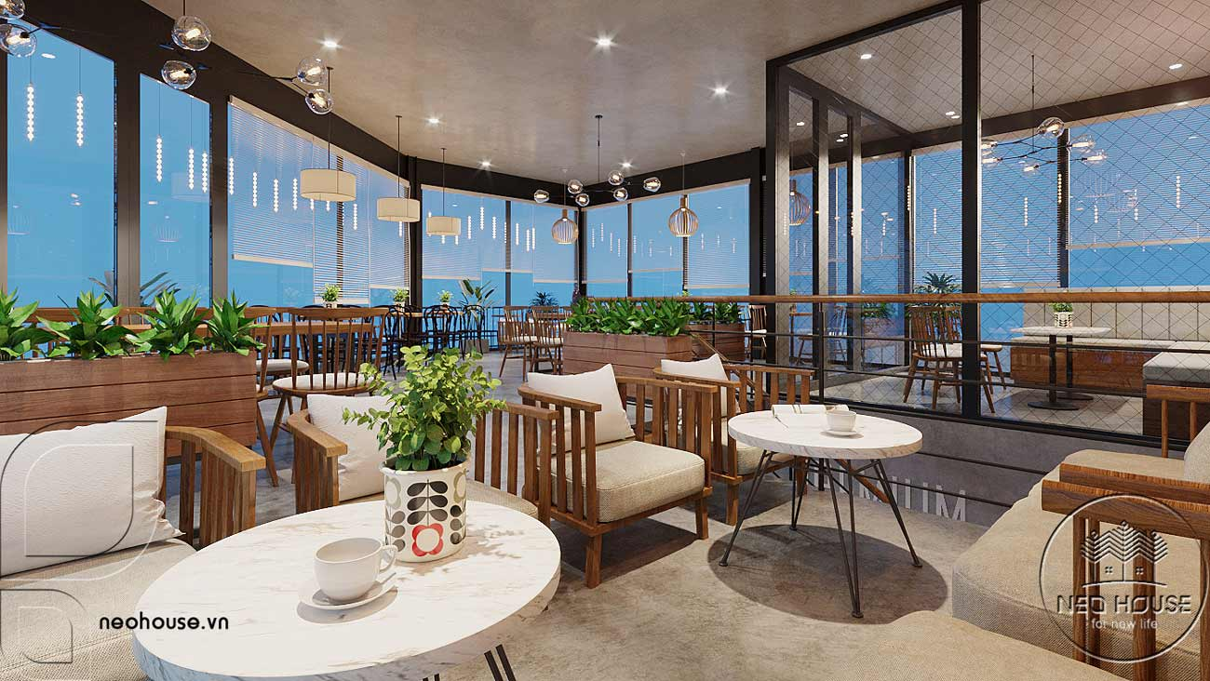 Thiết kế nội thất quán cafe sân vườn hiện đại. Ảnh 10